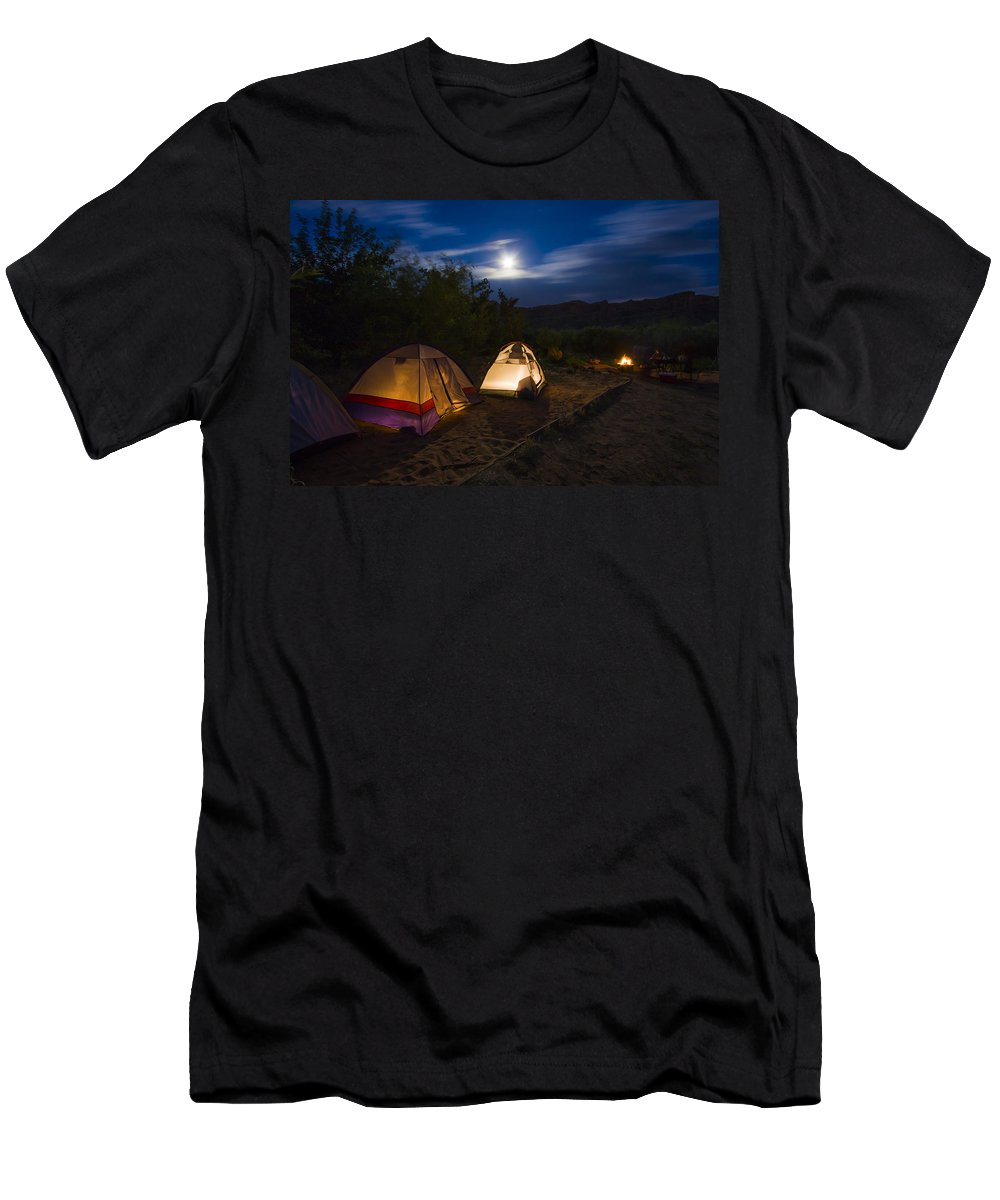 3scape Photos Men's T-Shirt (Athletic Fit) featuring the photograph Campfire And Moonlight by Adam Romanowicz