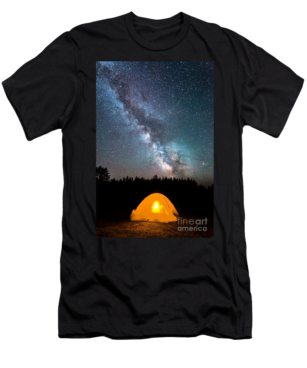 Camping Under The Stars Men's T-Shirt (Athletic Fit) featuring the photograph Camping Under The Stars by Michael Ver Sprill