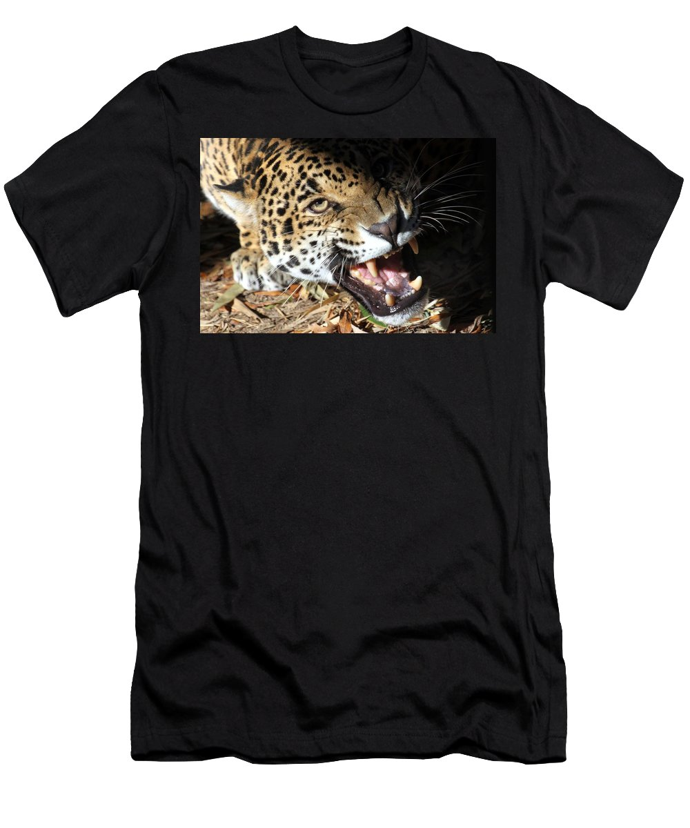 Jaguar Men's T-Shirt (Athletic Fit) featuring the photograph Can You Hear Me Now? by Christopher Miles Carter