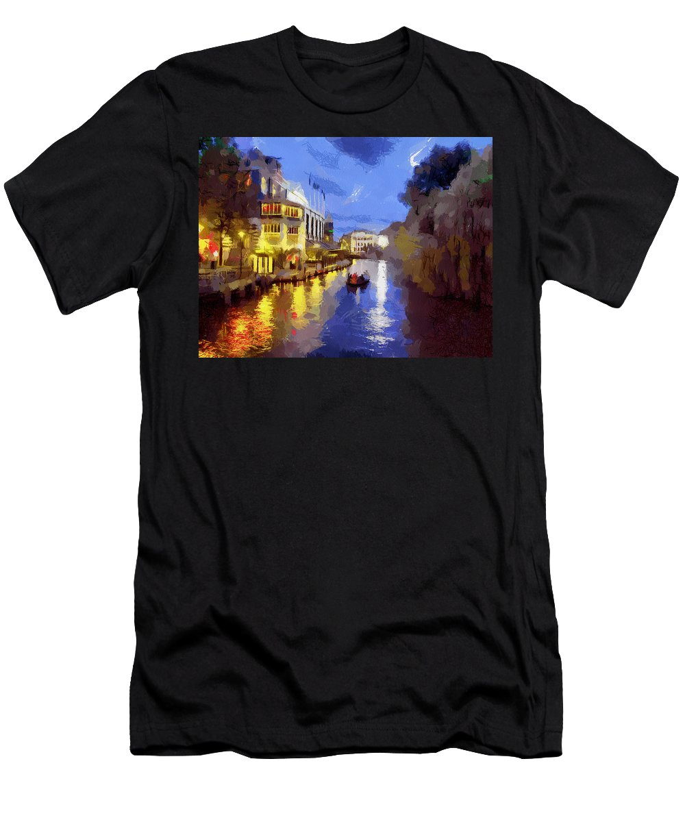 Canals Of Amsterdam Men's T-Shirt (Athletic Fit) featuring the painting Water Canals Of Amsterdam by Georgi Dimitrov