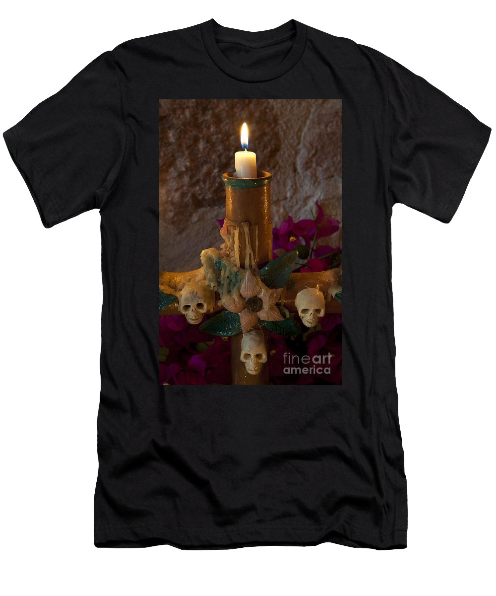 San Miguel De Allende Men's T-Shirt (Athletic Fit) featuring the photograph Candle On Day Of Dead Altar by John Shaw