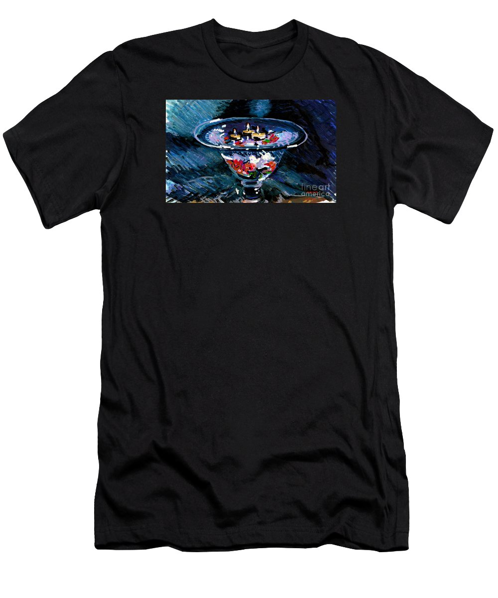 Candles Men's T-Shirt (Athletic Fit) featuring the painting Candles In Water by Candace Lovely