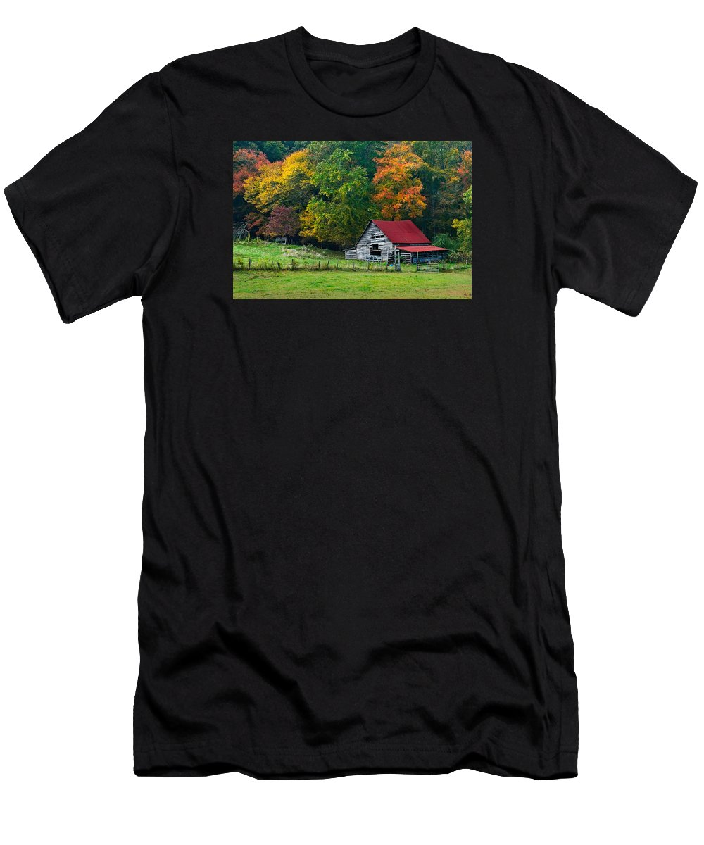 Appalachia Men's T-Shirt (Athletic Fit) featuring the photograph Candy Mountain by Debra and Dave Vanderlaan
