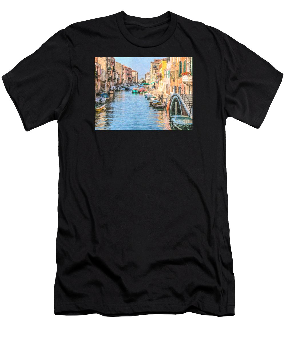 Cannareggio Men's T-Shirt (Athletic Fit) featuring the digital art Cannareggio Canal Venice by Liz Leyden