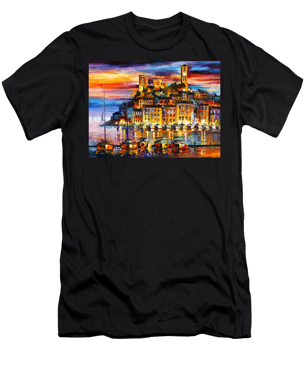 Cannes Men's T-Shirt (Athletic Fit) featuring the painting Cannes France by Leonid Afremov