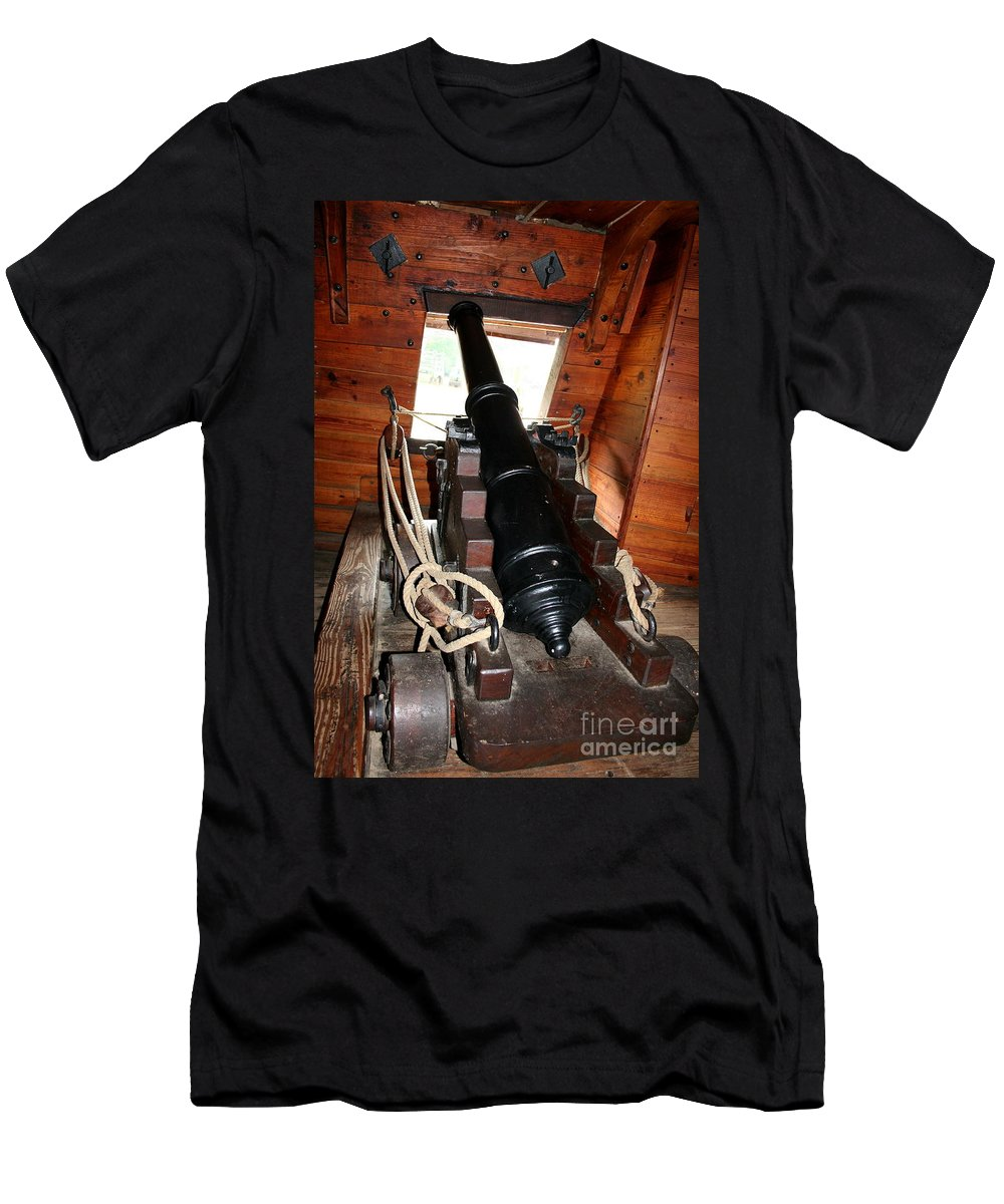 Colonizer Men's T-Shirt (Athletic Fit) featuring the photograph Cannon On Sailship by Christiane Schulze Art And Photography
