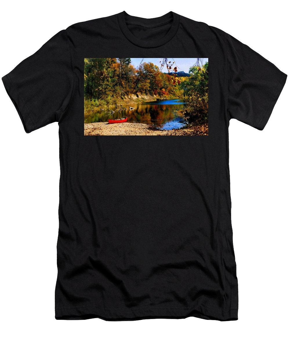 Autumn Men's T-Shirt (Athletic Fit) featuring the photograph Canoe On The Gasconade River by Steve Karol