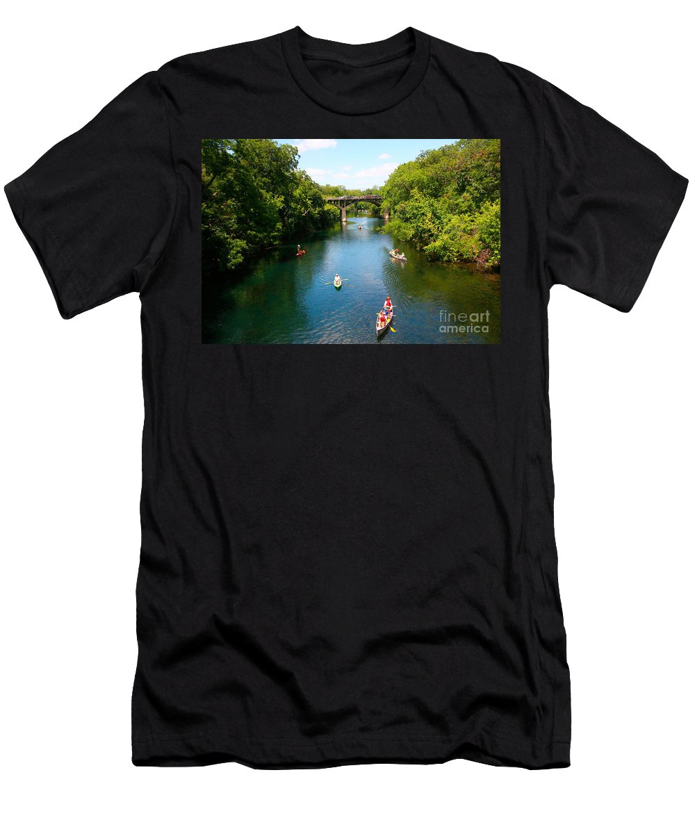 Barton Springs Pool Men's T-Shirt (Athletic Fit) featuring the photograph Canoeing The Springs by Randy Smith