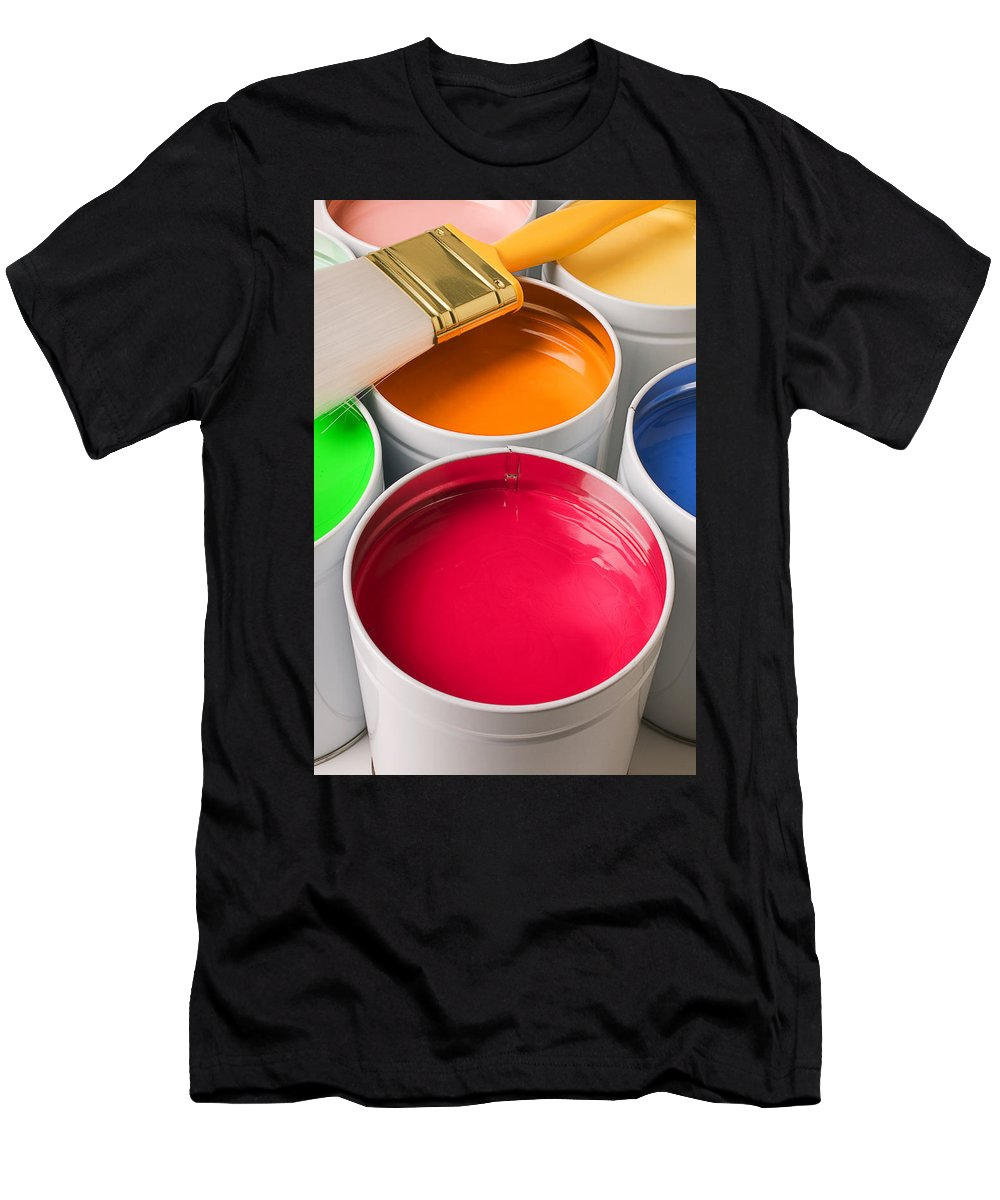 Paint Men's T-Shirt (Athletic Fit) featuring the photograph Cans Of Colored Paint by Garry Gay