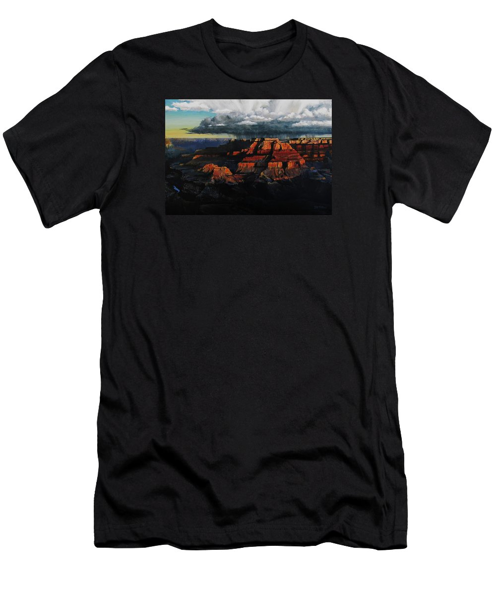Grand Canyon T-Shirt featuring the painting Canyon Colors by David Mittner