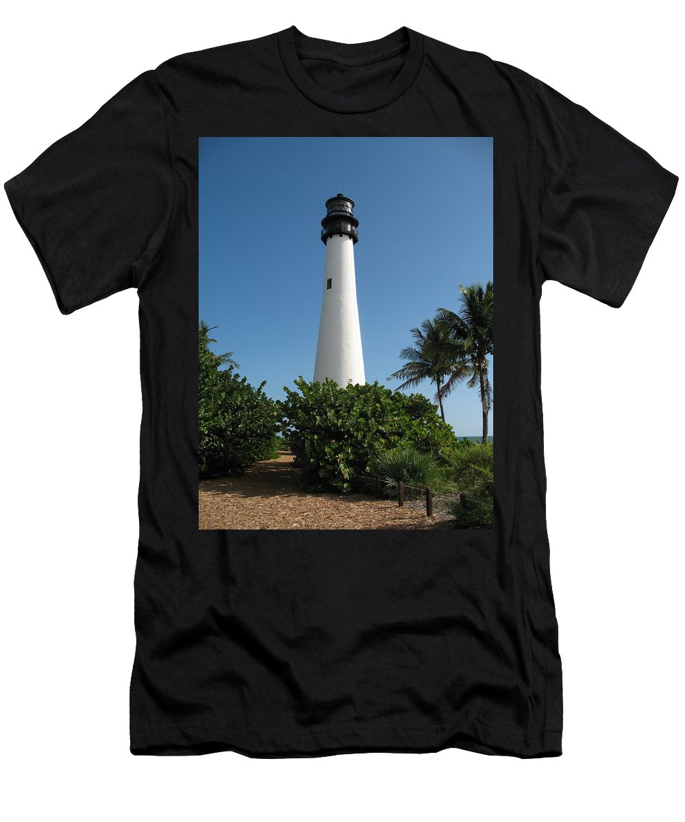 Lighthouse Men's T-Shirt (Athletic Fit) featuring the photograph Cape Florida Lightstation by Christiane Schulze Art And Photography