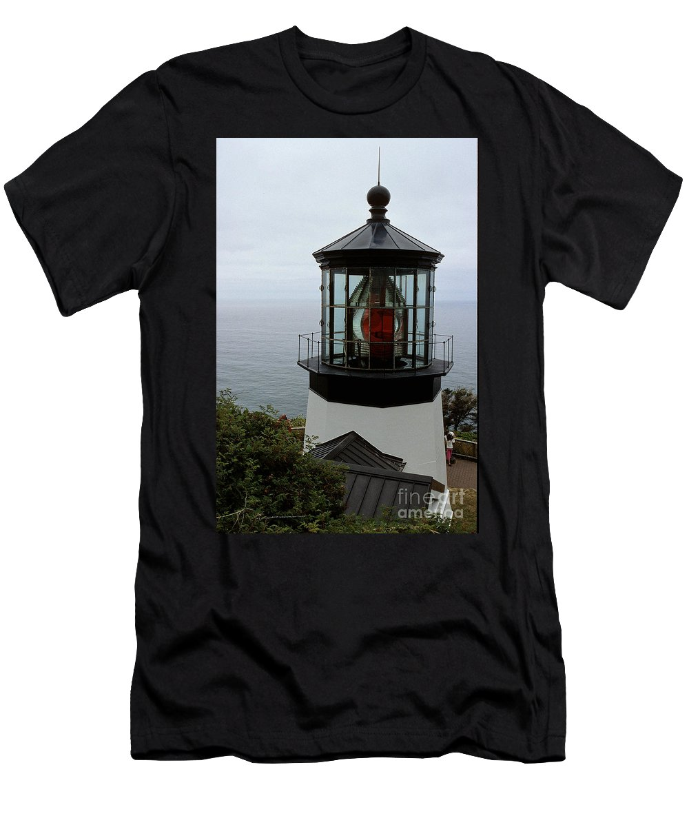 Cape Meares Men's T-Shirt (Athletic Fit) featuring the photograph Cape Meares Light by Sharon Elliott