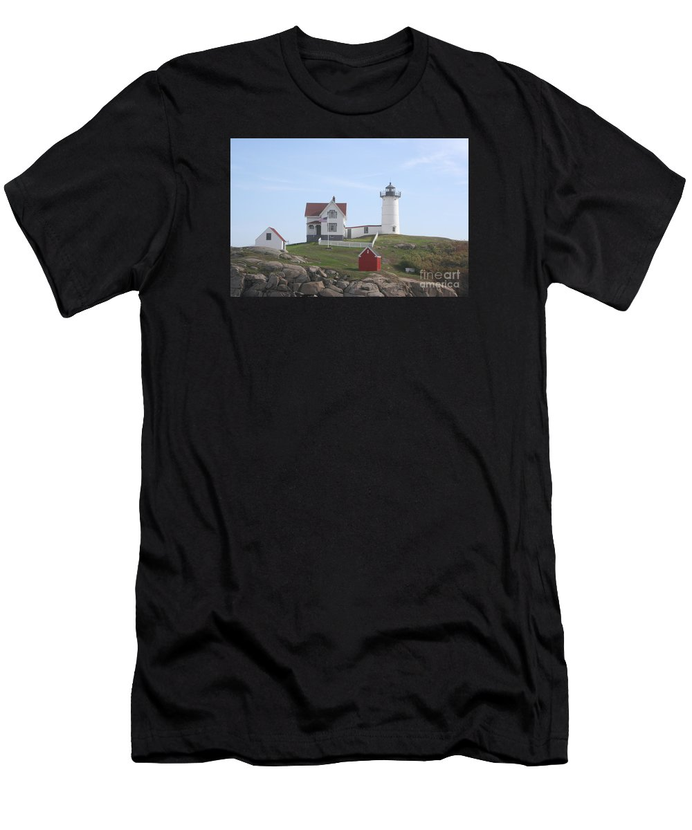 Ligthouse Men's T-Shirt (Athletic Fit) featuring the photograph Cape Neddick Lighthouse - Me by Christiane Schulze Art And Photography
