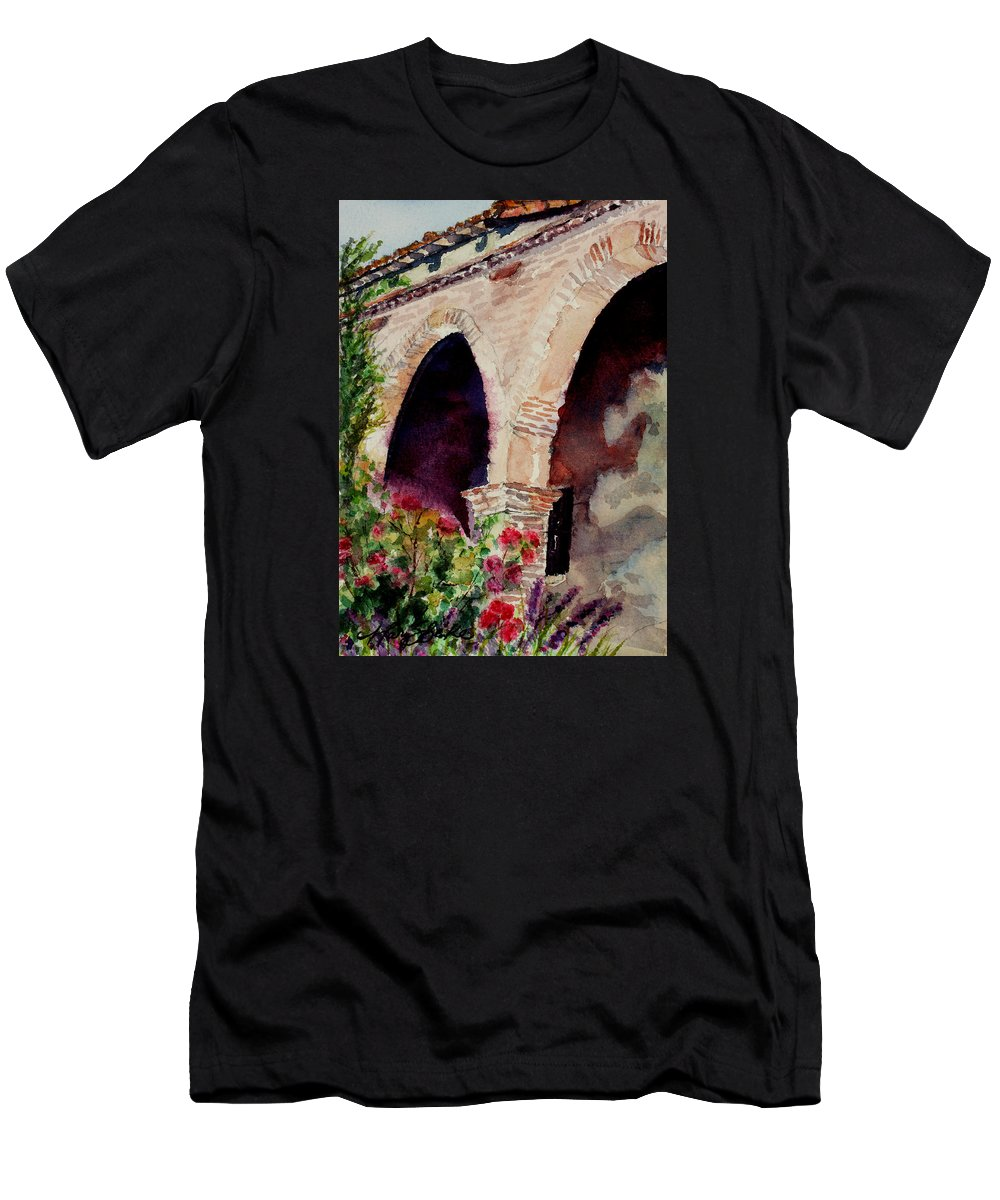 Watercolor Men's T-Shirt (Athletic Fit) featuring the painting Capistrano Arches by Mary Benke