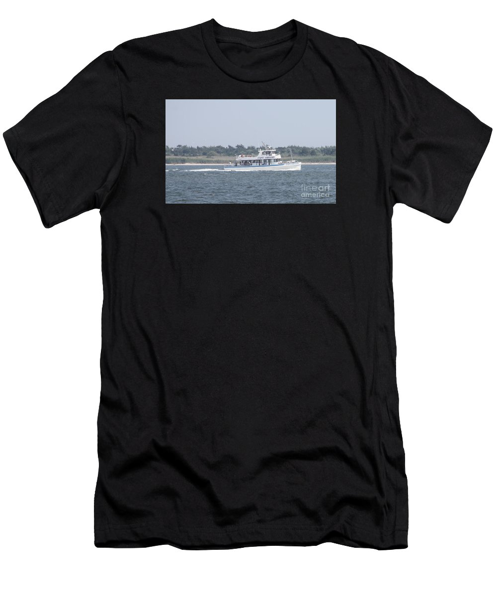 Captrees Captain Gregory Heading Out To Sea Men's T-Shirt (Athletic Fit) featuring the photograph Captree's Captain Gregory Heading Out To Sea by John Telfer