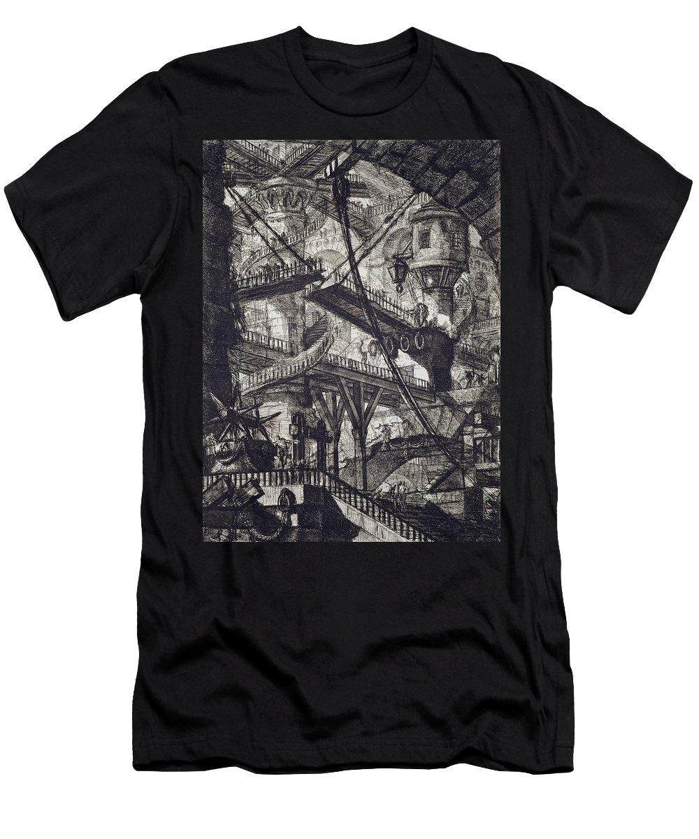 Prison; From The Carceri Series; Architectural; Architecture; Punishment; Jail; Gaol; Law And Order; Interior; Arch; Spiral; Staircase; Tower; Bridge; Pulley Men's T-Shirt (Athletic Fit) featuring the drawing Carceri Vii by Giovanni Battista Piranesi