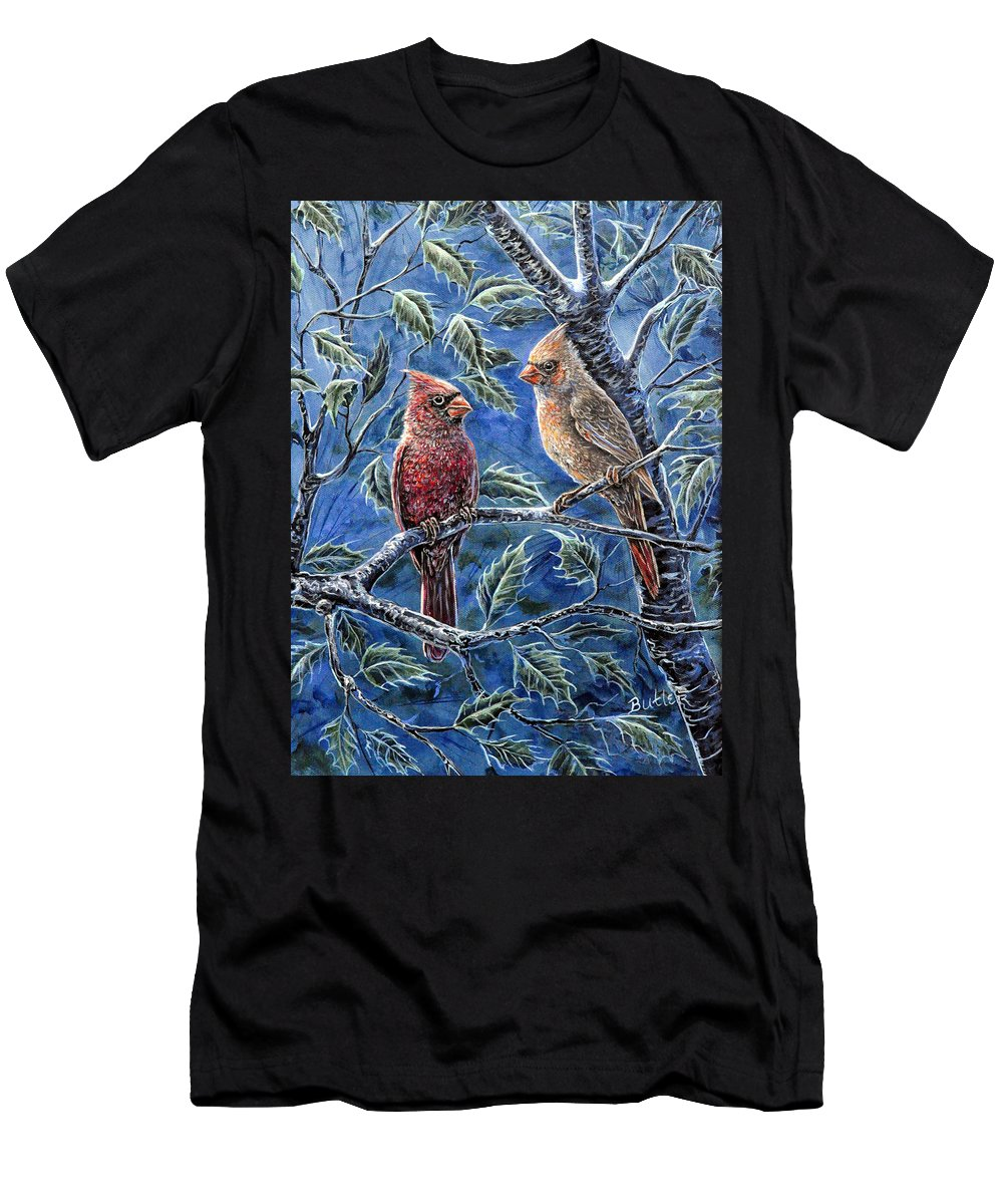 Animal Nature Bird Cardinal Holly Red Blue Green Men's T-Shirt (Athletic Fit) featuring the painting Cardinals And Holly by Gail Butler