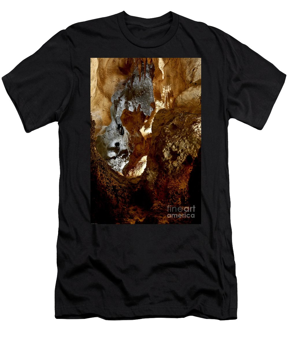 Abstracts Men's T-Shirt (Athletic Fit) featuring the photograph Carlsbad Caverns #1 by Kathy McClure