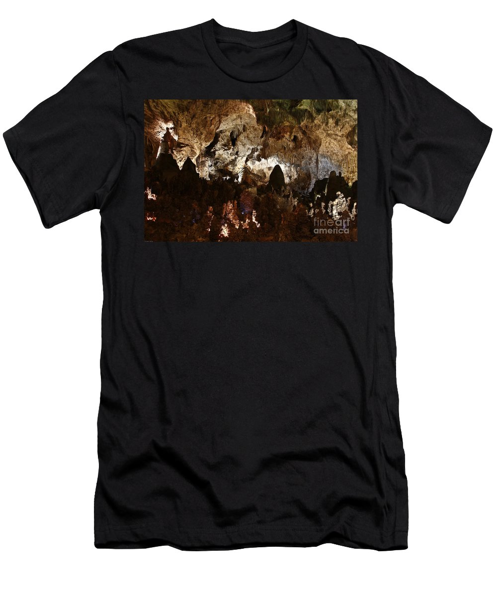 Abstracts Men's T-Shirt (Athletic Fit) featuring the photograph Carlsbad Caverns #2 by Kathy McClure