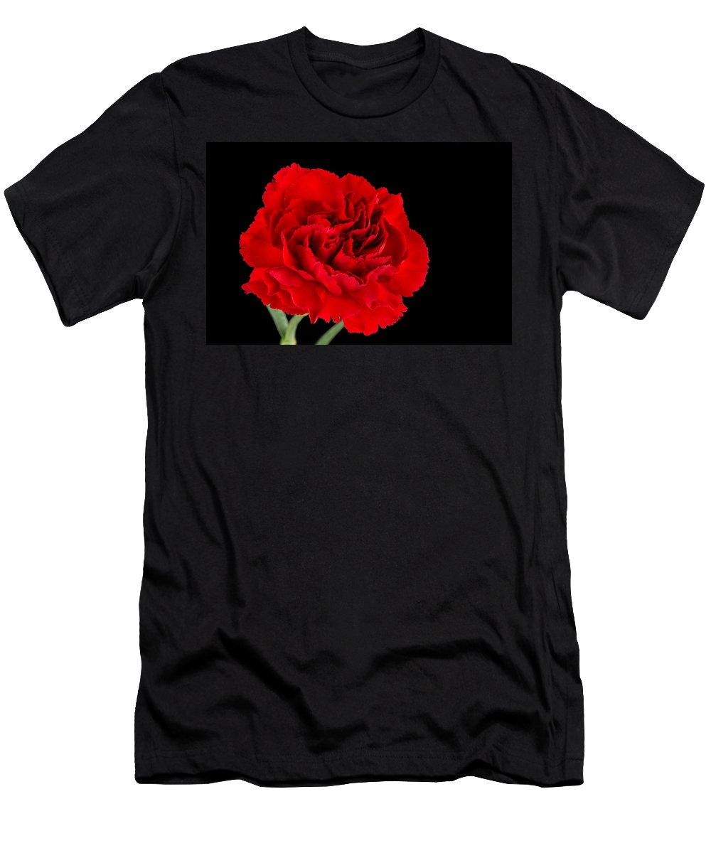 Black Background Men's T-Shirt (Athletic Fit) featuring the photograph Carnation Closeup by David Head