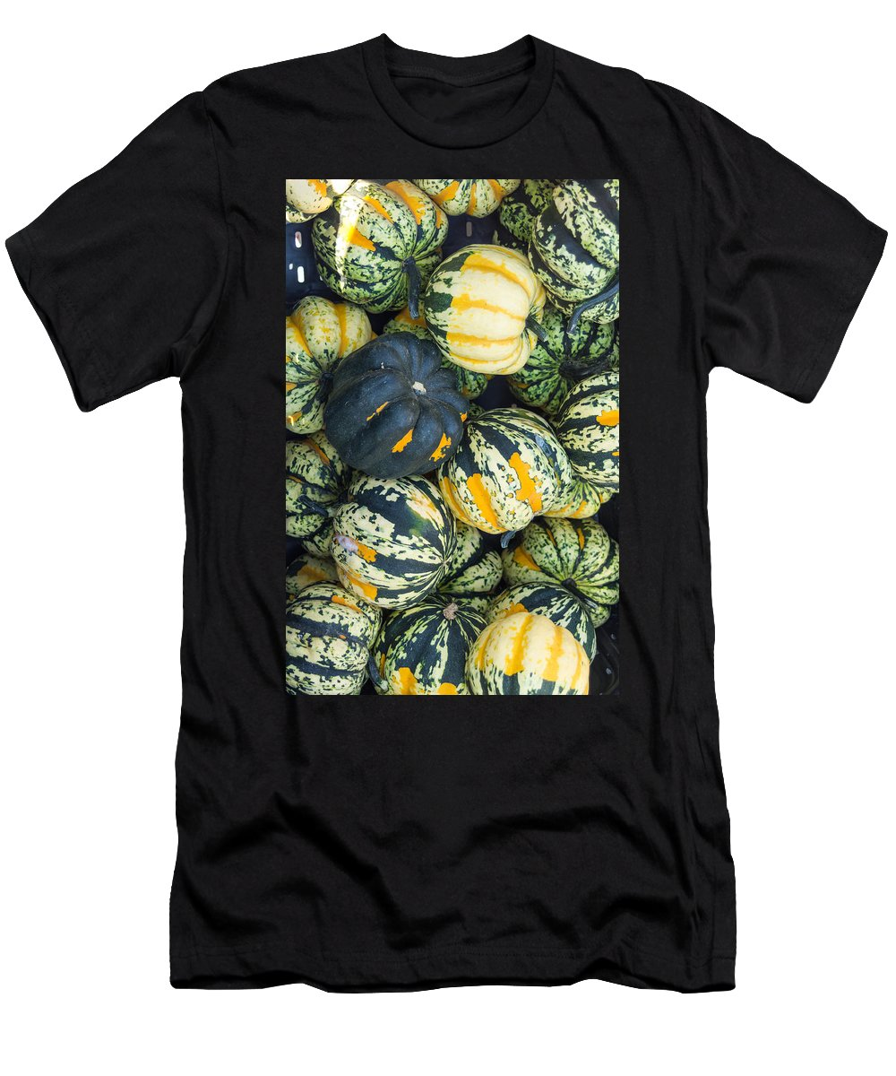 Agriculture Men's T-Shirt (Athletic Fit) featuring the photograph Carnival Winter Squash At The Market by John Trax