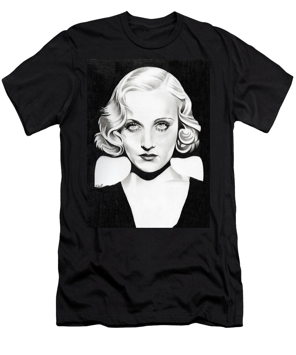 Carole Lombard Men's T-Shirt (Athletic Fit) featuring the drawing Carole Lombard by Fred Larucci