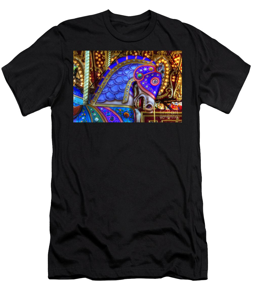 Carousel Men's T-Shirt (Athletic Fit) featuring the photograph Carousel Beauty Blue Charger by Bob Christopher