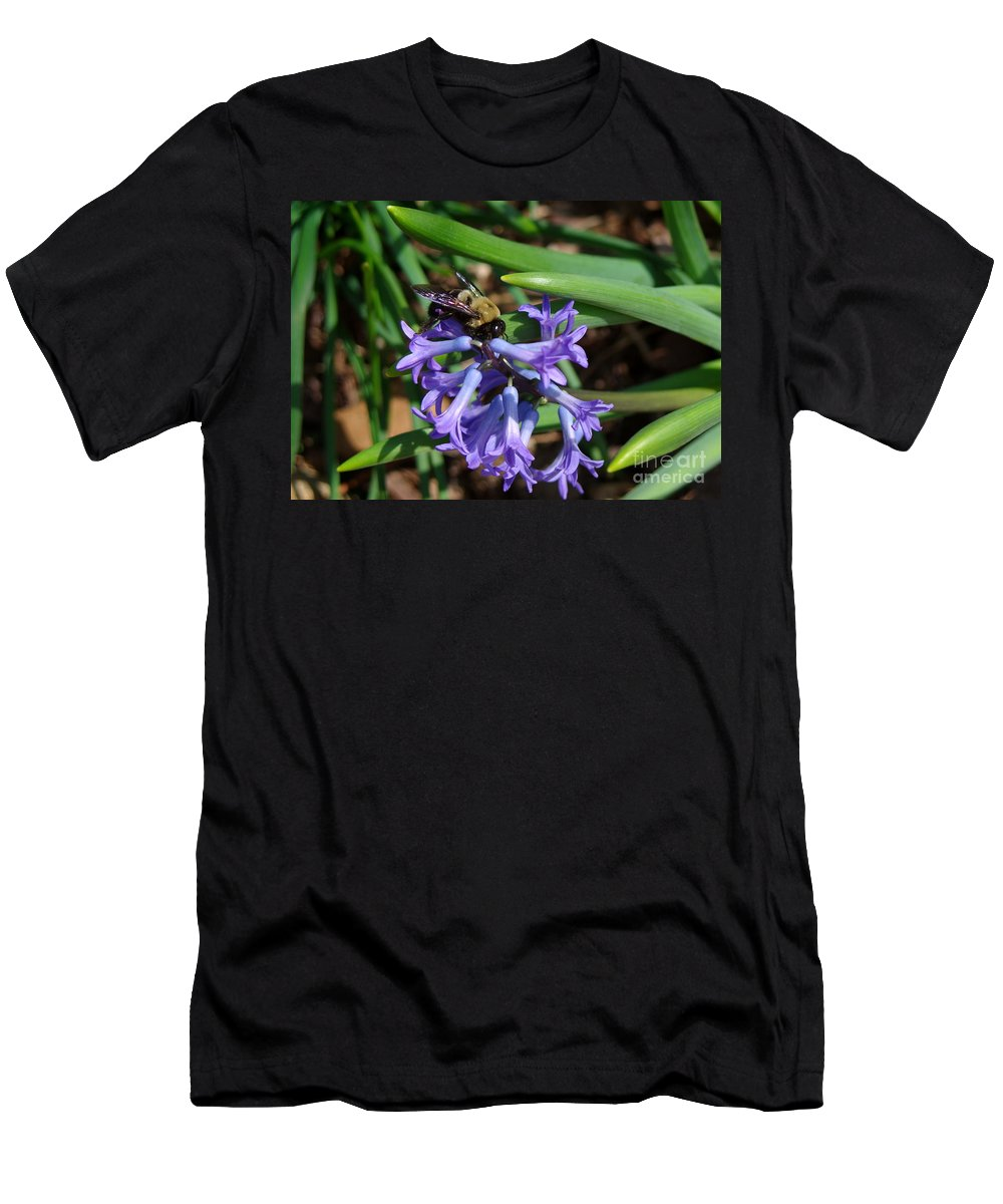 Bee On Hyacinth Flower Men's T-Shirt (Athletic Fit) featuring the photograph Carpenter On Hyacinth by Kitrina Arbuckle
