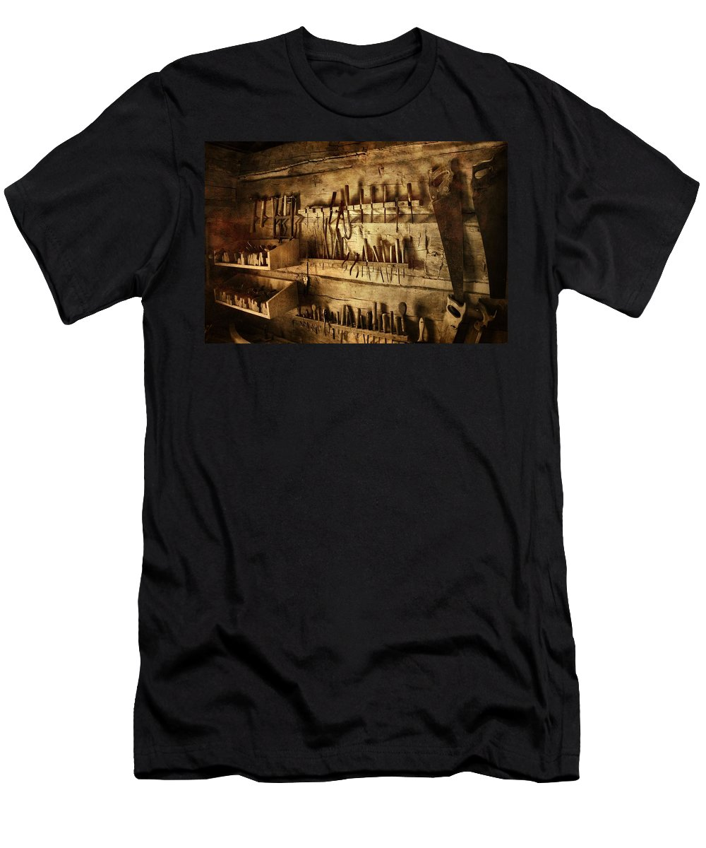 Carpenter's Workroom Men's T-Shirt (Athletic Fit) featuring the photograph Carpenter's Workroom by Dan Sproul