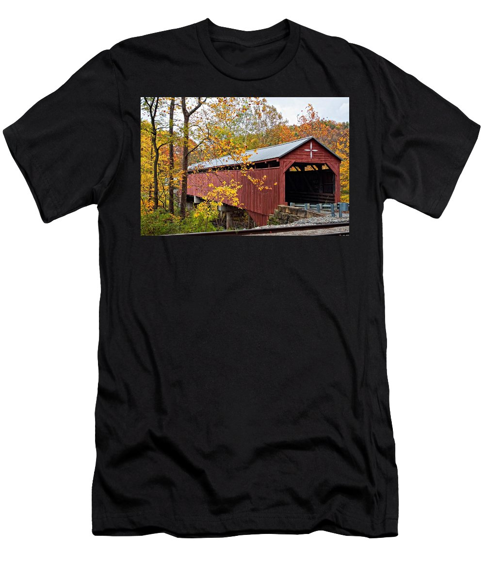 West Virginia Men's T-Shirt (Athletic Fit) featuring the photograph Carrollton Covered Bridge by Steve Harrington