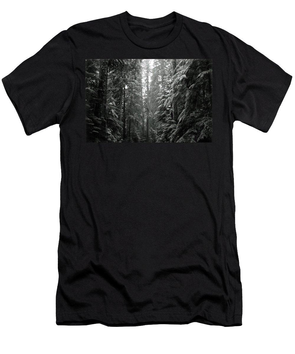 Snow Landscape Men's T-Shirt (Athletic Fit) featuring the photograph Cascade Snow by Loren McNamara