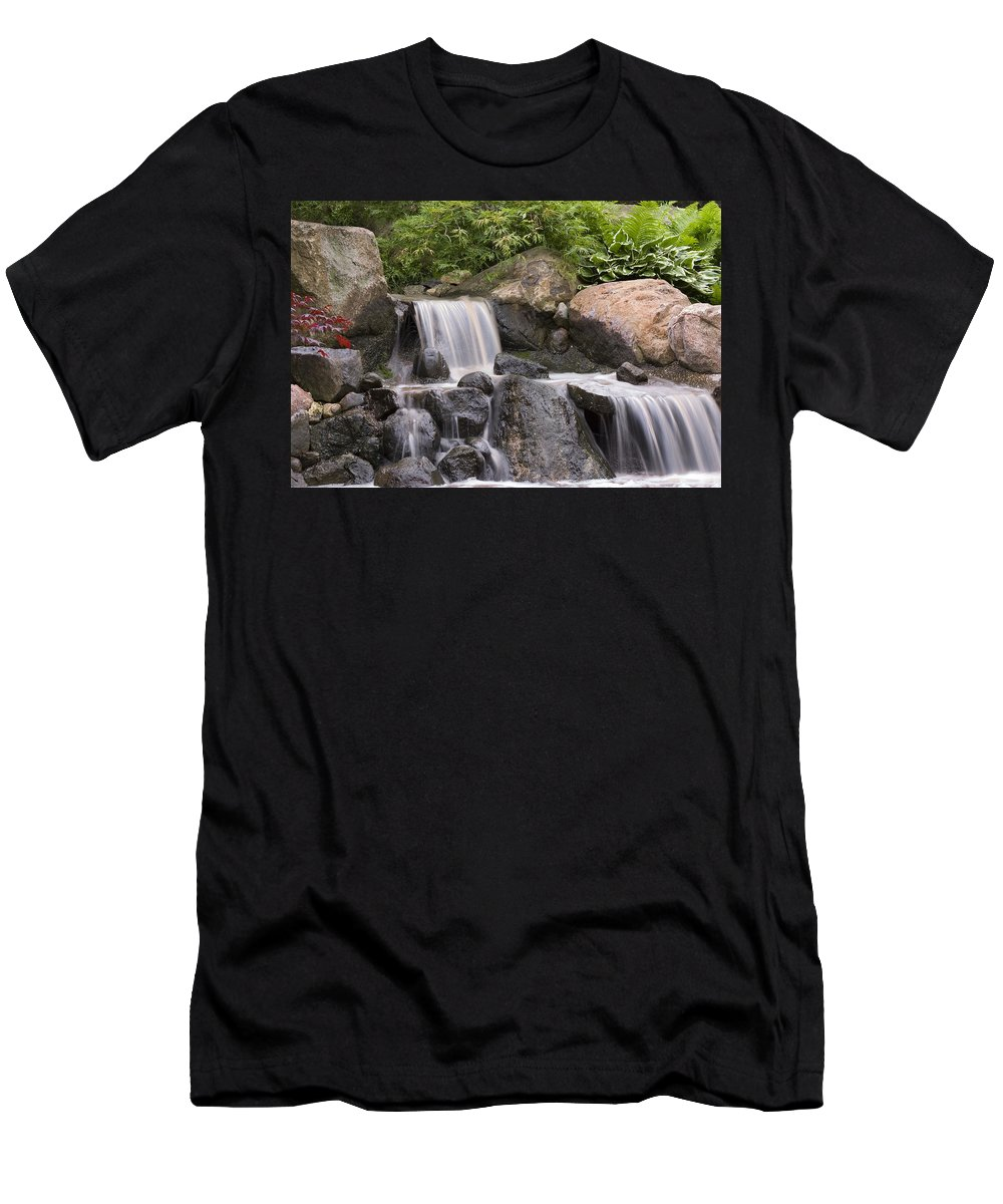 3scape Men's T-Shirt (Athletic Fit) featuring the photograph Cascade Waterfall by Adam Romanowicz