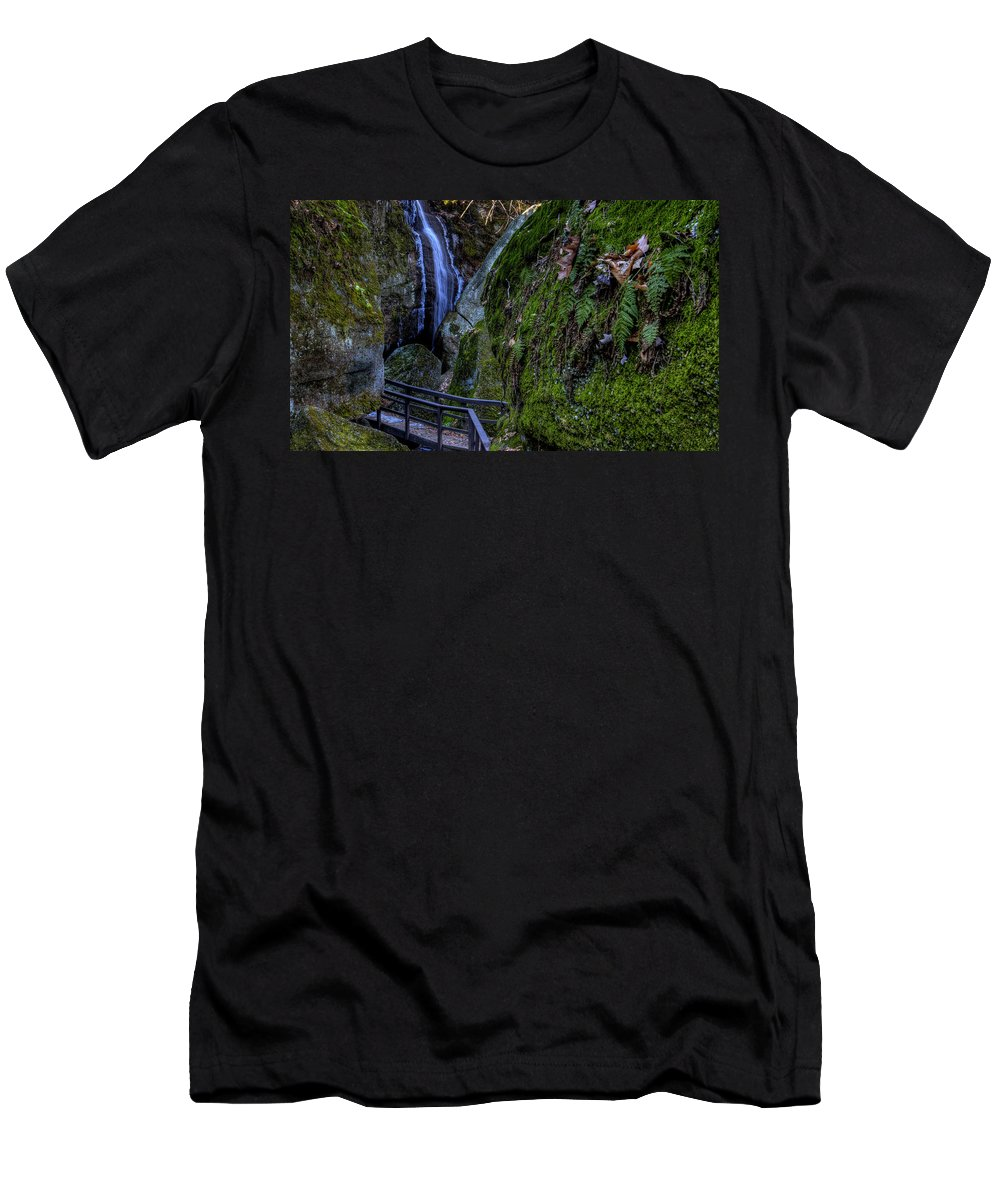 Waterfall Men's T-Shirt (Athletic Fit) featuring the photograph Cascade Waterfall by David Dufresne