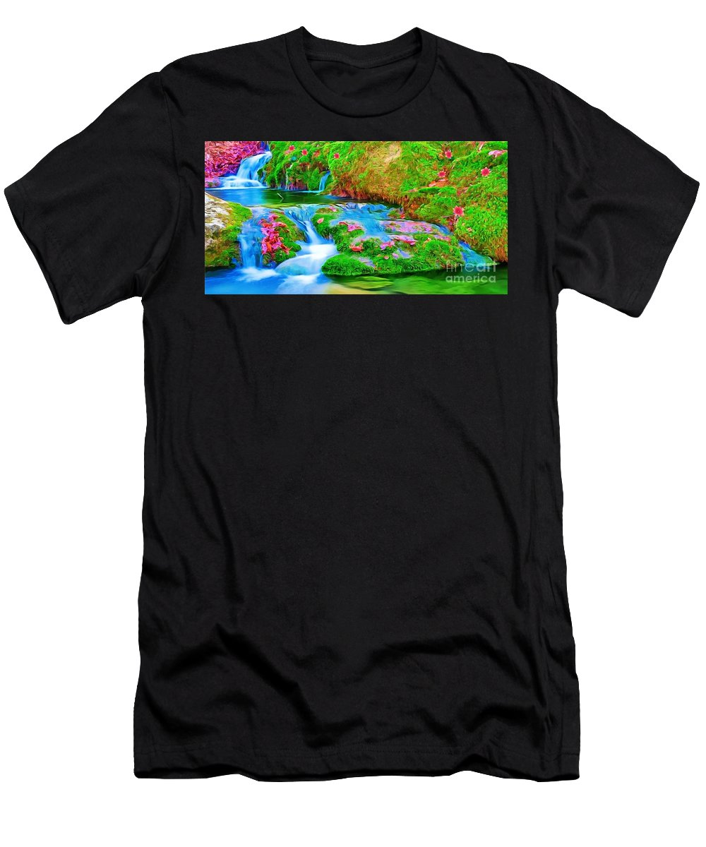 Casscades Men's T-Shirt (Athletic Fit) featuring the painting Cascades by Catherine Lott