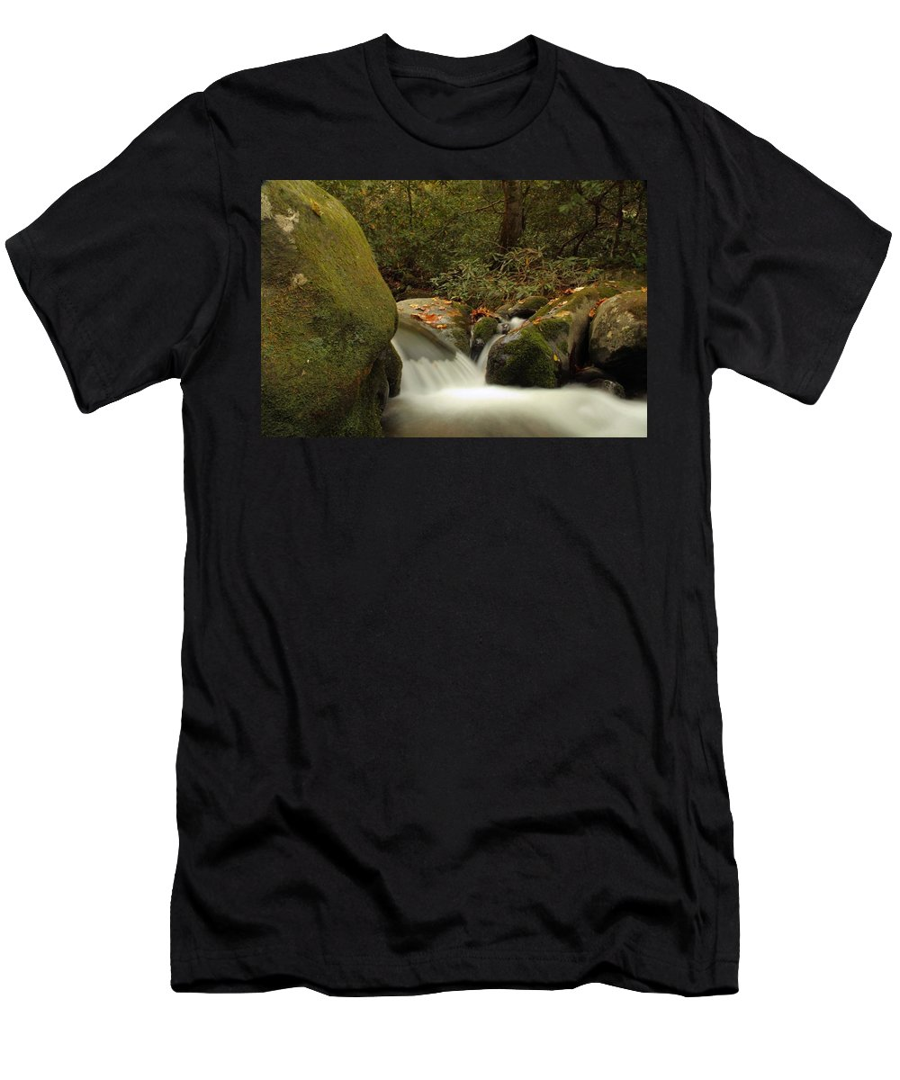 Autumn Cascades In Tennessee Men's T-Shirt (Athletic Fit) featuring the photograph Cascades In Appalachian Mountains by Dan Sproul