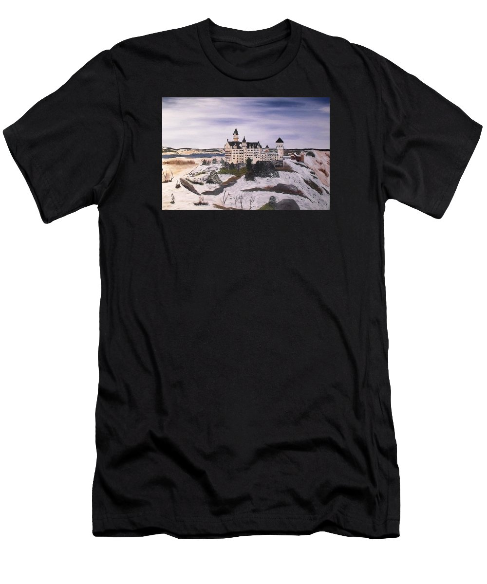 Castle Men's T-Shirt (Athletic Fit) featuring the painting Castle by Bonnie Boerger
