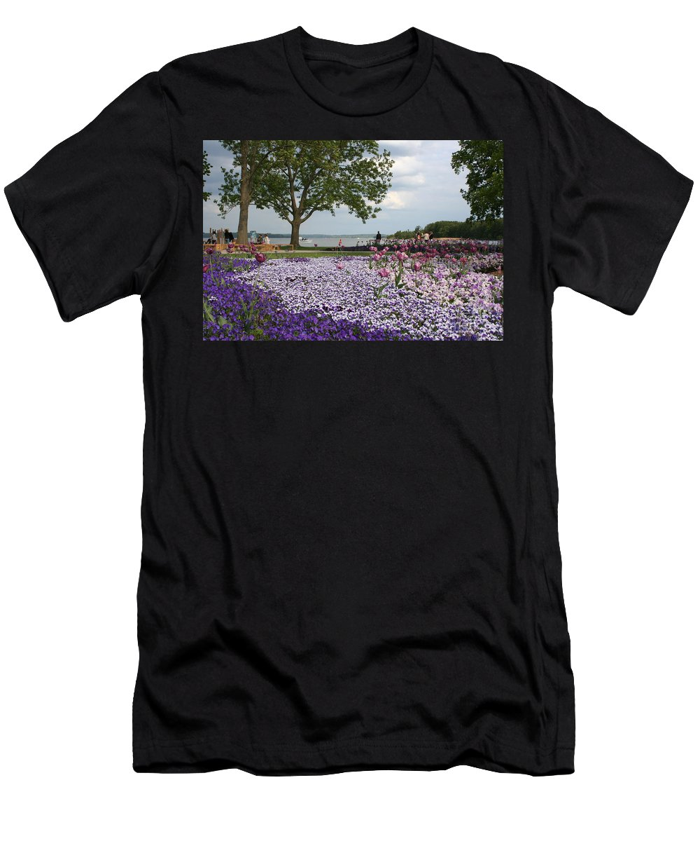 Schwerin Men's T-Shirt (Athletic Fit) featuring the photograph Castle Garden Schwerin - Germany by Christiane Schulze Art And Photography