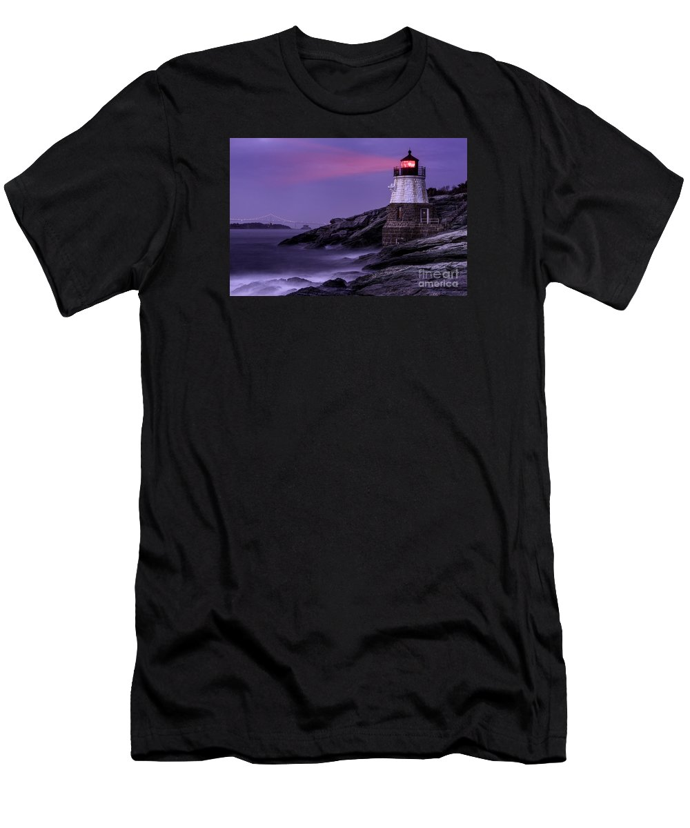 Atlantic Men's T-Shirt (Athletic Fit) featuring the photograph Castle Hill Lighthouse by Jerry Fornarotto