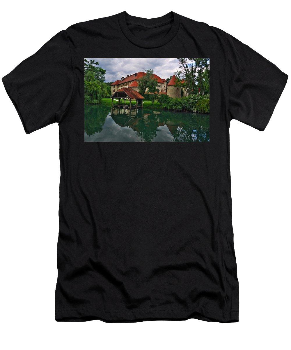 Slovenia Men's T-Shirt (Athletic Fit) featuring the photograph Castle Otocec by Ivan Slosar