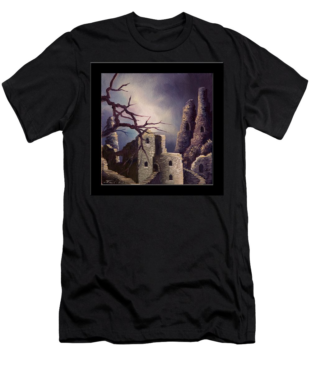 Gothic T-Shirt featuring the painting Castle Ruins IV by James Christopher Hill