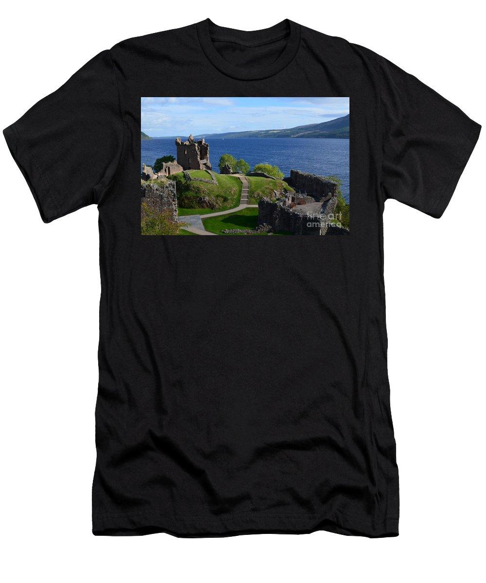 Urquhart Castle Men's T-Shirt (Athletic Fit) featuring the photograph Castle Ruins On Loch Ness by DejaVu Designs