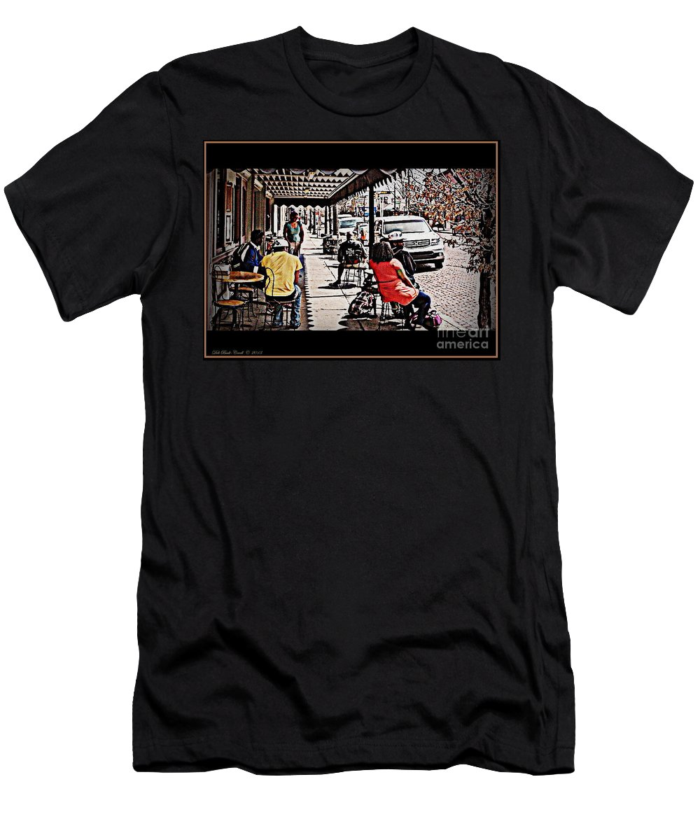 Yesterdog Men's T-Shirt (Athletic Fit) featuring the photograph Casual Dining by Deb Badt-Covell