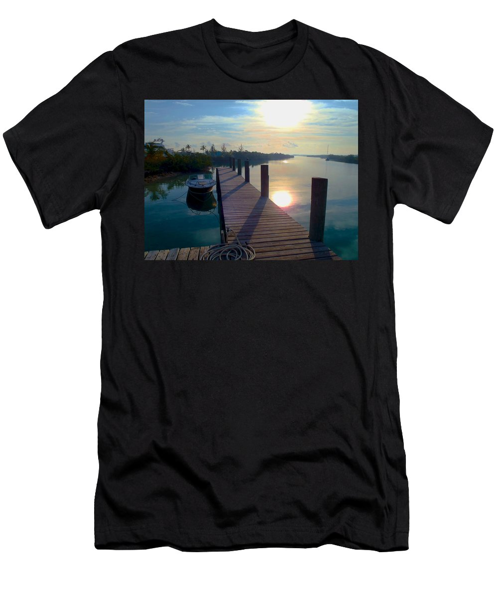 Cat Island Men's T-Shirt (Athletic Fit) featuring the photograph Cat Island Dock by Carey Chen