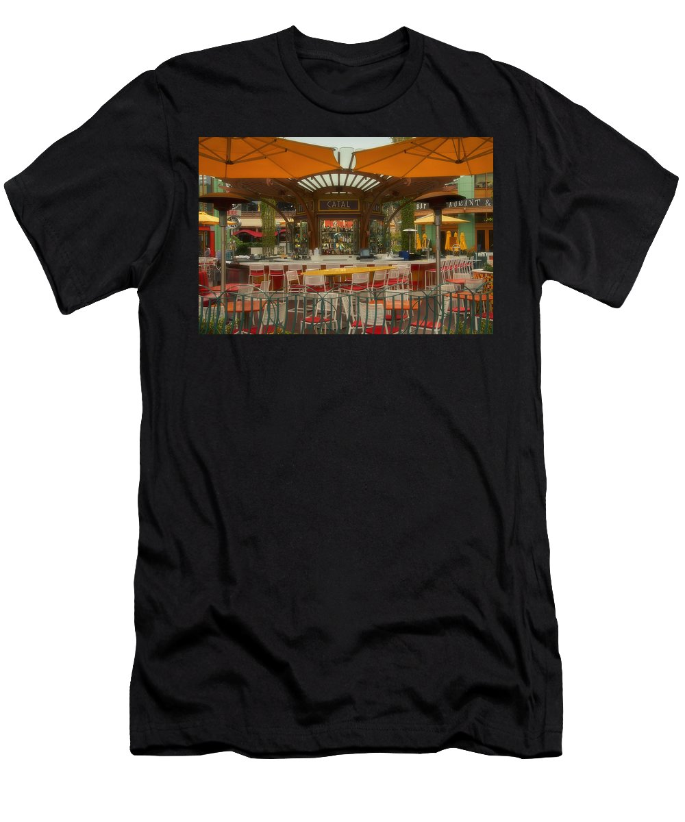 Disney Men's T-Shirt (Athletic Fit) featuring the photograph Catal Outdoor Cafe Downtown Disneyland 02 by Thomas Woolworth