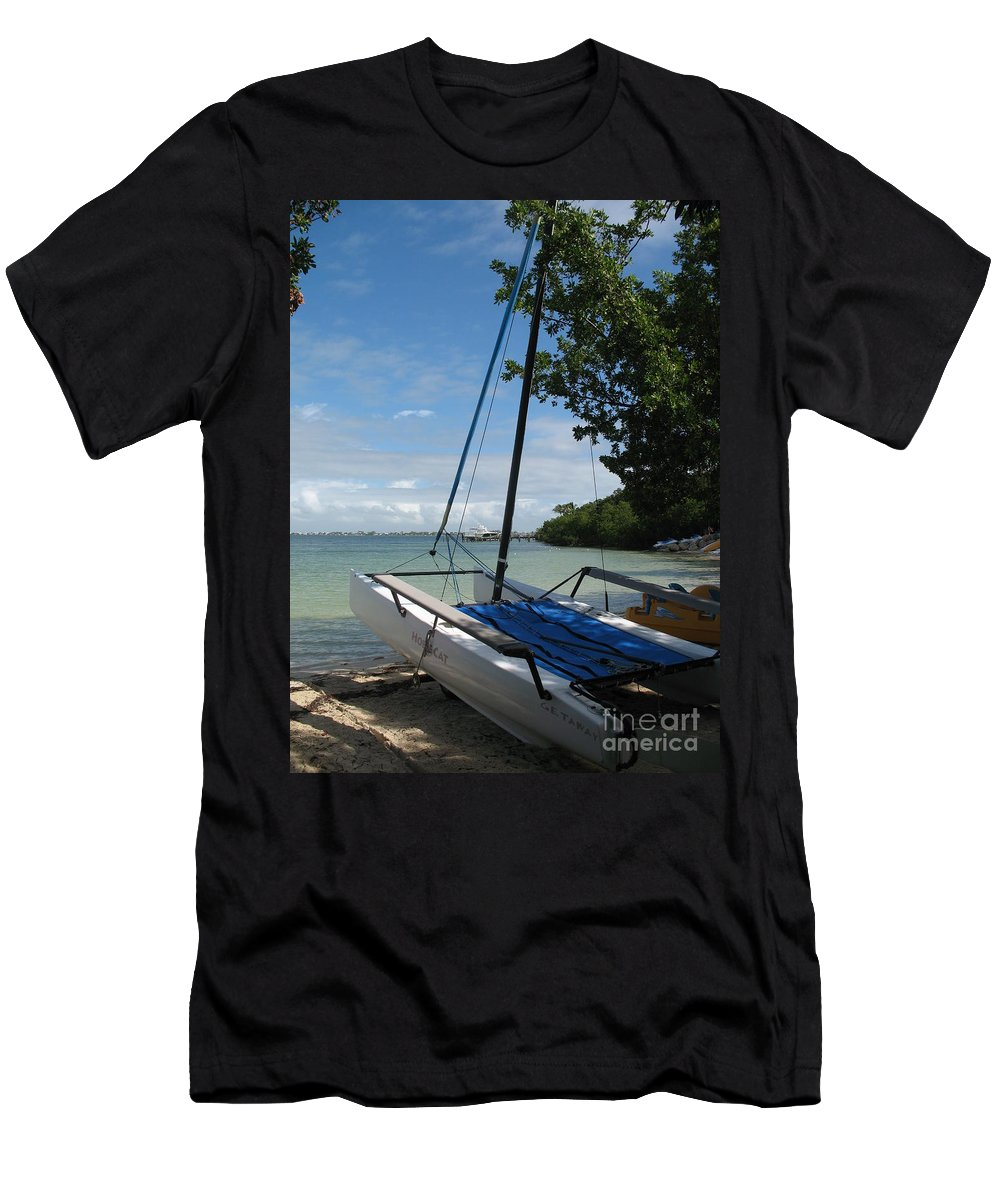 Beach Men's T-Shirt (Athletic Fit) featuring the photograph Catamaran On The Beach by Christiane Schulze Art And Photography