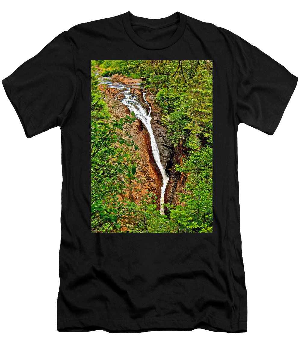 Cataract On North Harbour Men's T-Shirt (Athletic Fit) featuring the photograph Cataract On North Harbour-nl by Ruth Hager