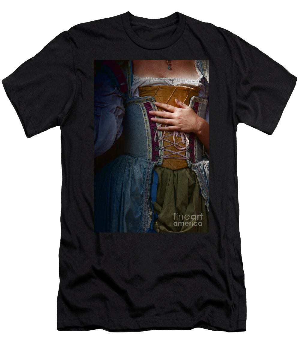 Caucasian; Beautiful; Clothing; Costume; Dress; Blue; Green; Gold; Laces; Peasant; Female; Lady; Woman; Gown; Wench; Period Costume; Renaissance; Vintage; Decoration; Cropped; Hand; Chest; Dark; In The Dark; Shy; Maiden; Prim; Proper; Feminine; Darkness; Scared Men's T-Shirt (Athletic Fit) featuring the photograph Catching Her Breath by Margie Hurwich