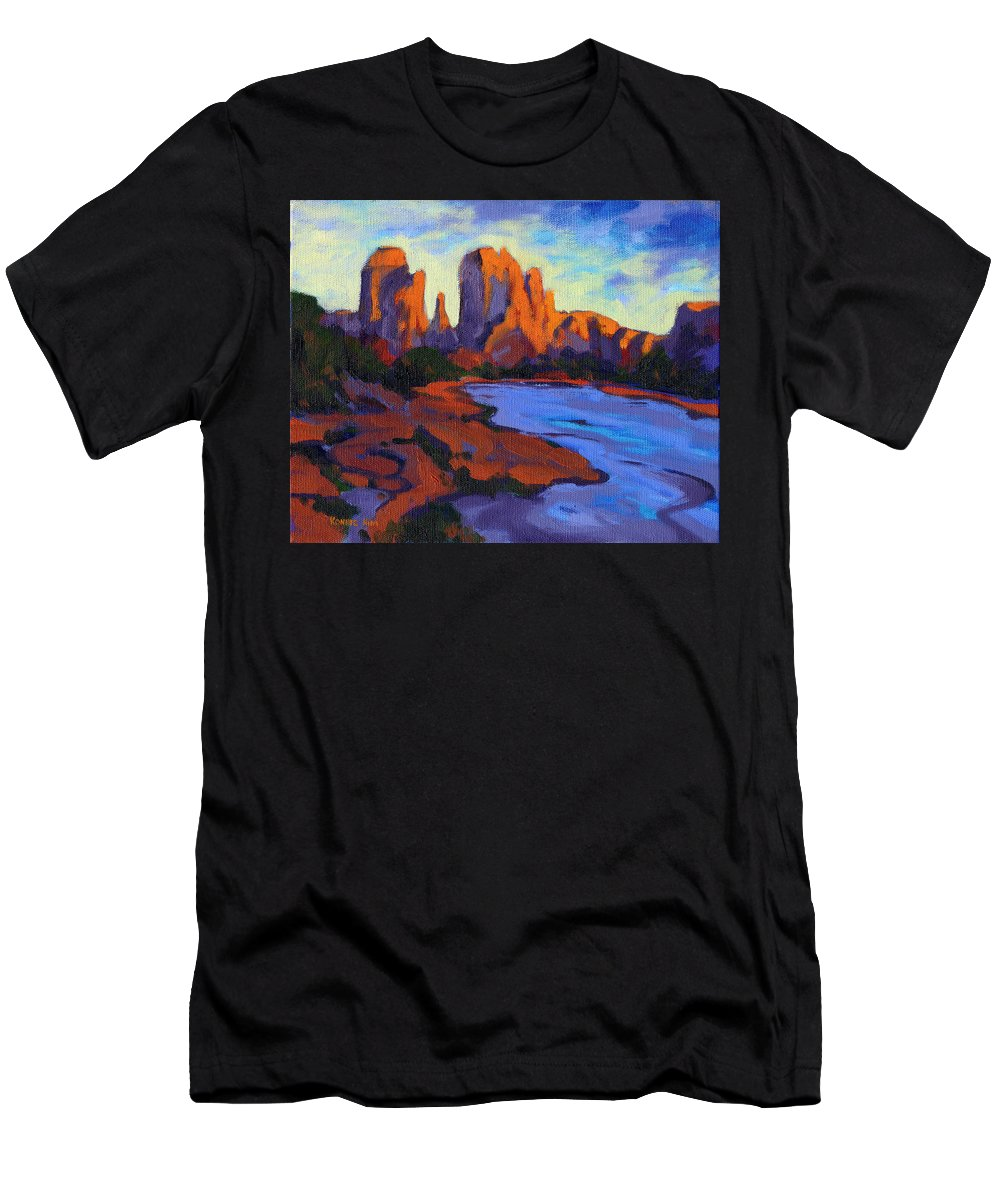 Arizona Men's T-Shirt (Athletic Fit) featuring the painting Cathedral Rock by Konnie Kim