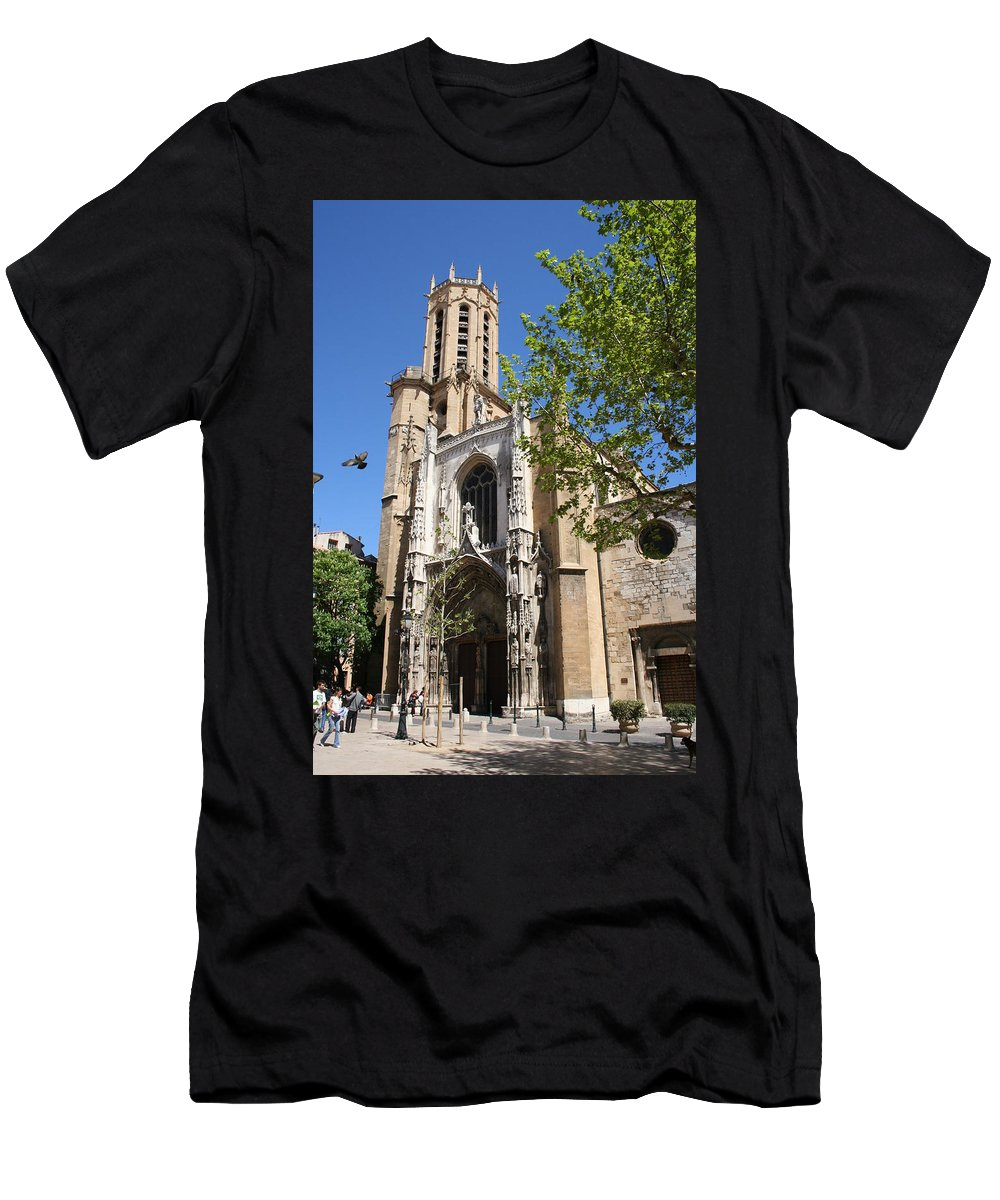 Cathedral Men's T-Shirt (Athletic Fit) featuring the photograph Cathedral St Sauveur - Aix En Provence by Christiane Schulze Art And Photography