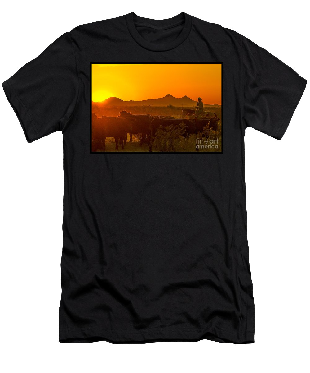 Cattle Men's T-Shirt (Athletic Fit) featuring the photograph Cattle Drive 24 by Larry White
